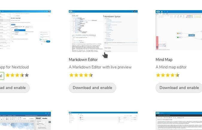 Nextcloud app store showing Markdown Editor installer