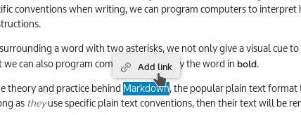 black text on white background, word highlighted in blue to create an automatic link