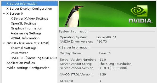 Nvidia configuration application