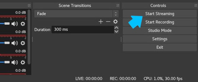 Start streaming in OBS