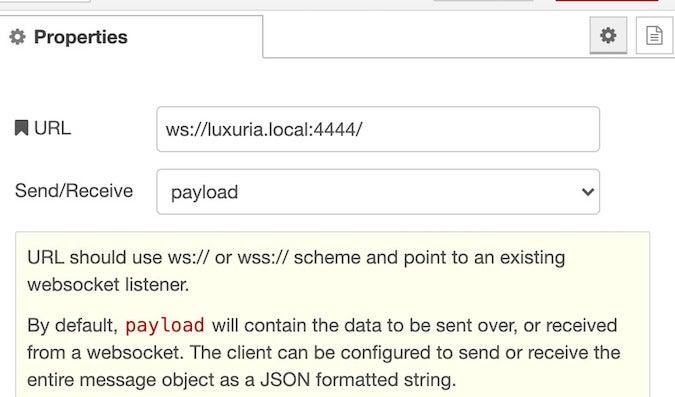 Websocket Out Node configuration
