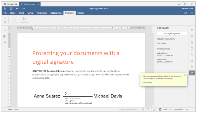 Digital signature in ONLYOFFICE