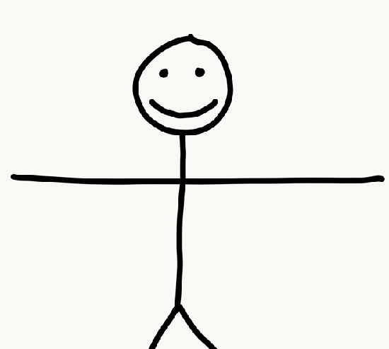 Stick figure with open arms
