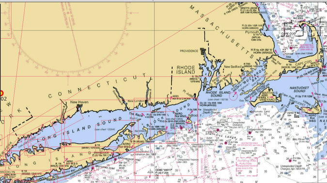 OpenCPN map of Long Island and Nantucket Sounds