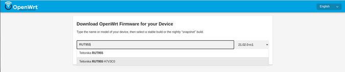 OpenWRT firmware selector
