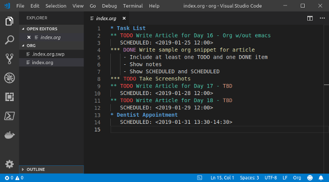 Visual Studio code with VS-Org