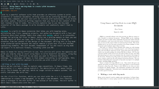 Emacs with Org mode source and PDF preview