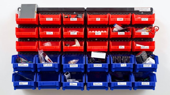 Organized bins of equipment
