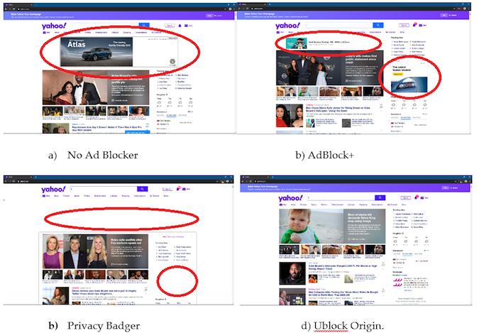 Ad blocker screen comparison