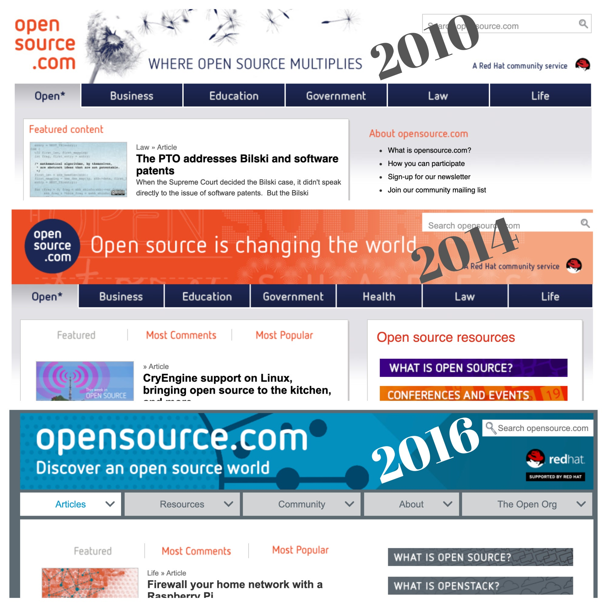 Snapshots of the homepage through the decade