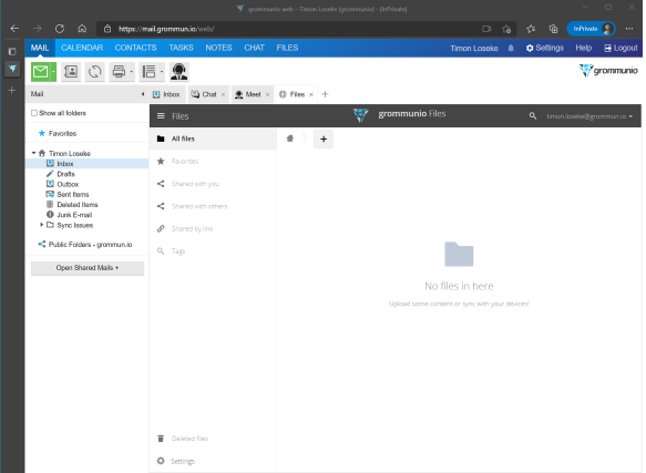 Screenshot of grommunio file sharing space