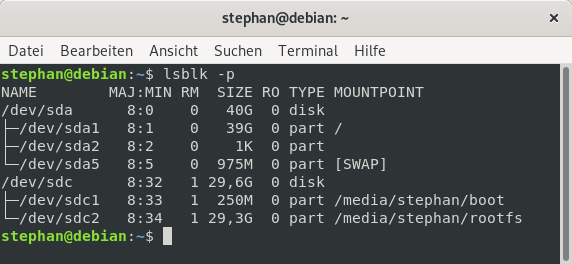 Using lsblk -p to check mounting partitions