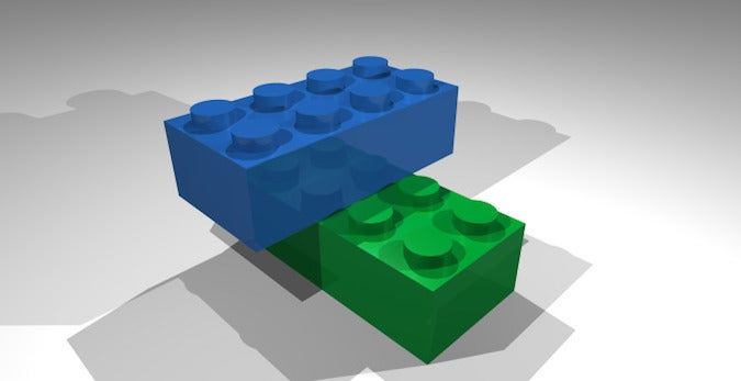 POVray blue and green brick render