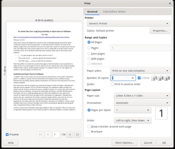 LibreOffice print dialog