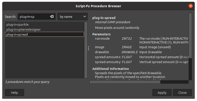 GIMP Procedure Browser
