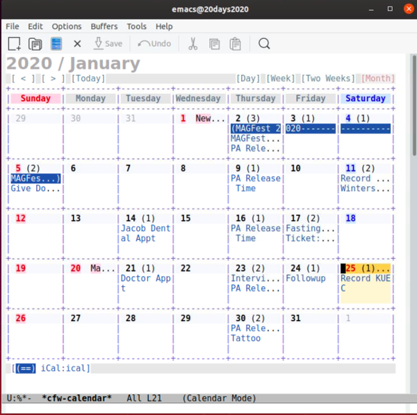 calfw calendar
