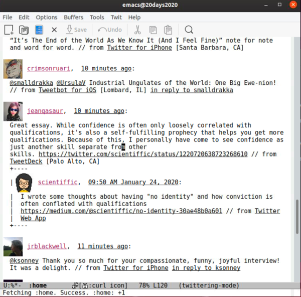 Twitter in Emacs