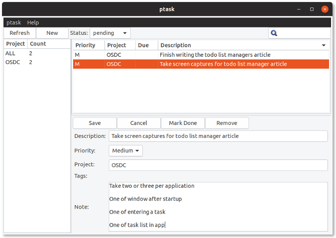 Editing a task in ptask