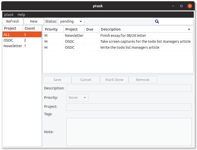 List of tasks in ptask