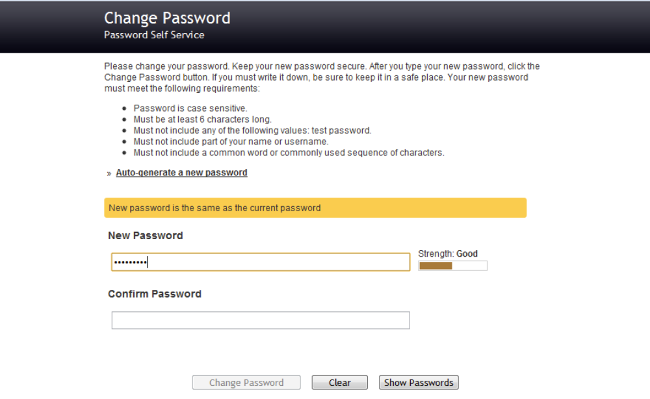 PWM password reset screen