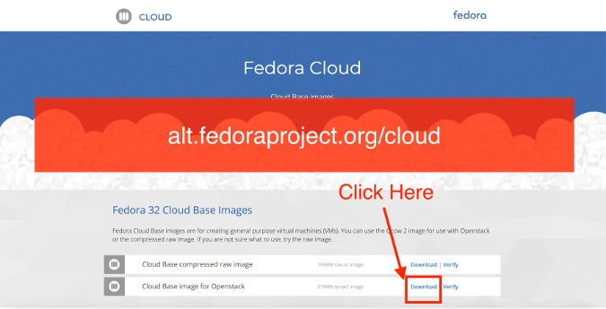Click Download link in Cloud Base image for Openstack