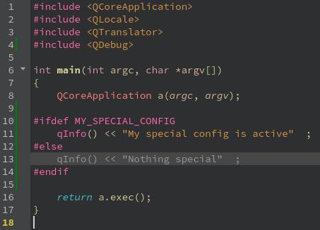 Special configuration in Qt Creator