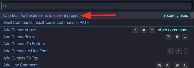Adding extensions in Quarkus