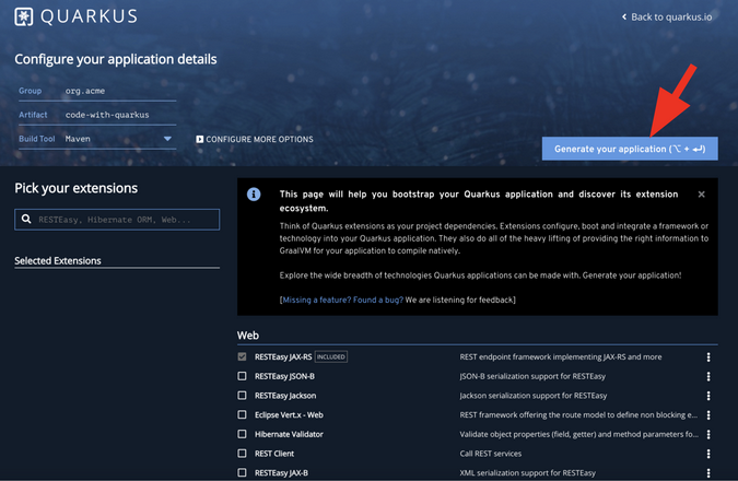 Quarkus Generate application button