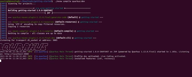 Output of running a Quarkus application