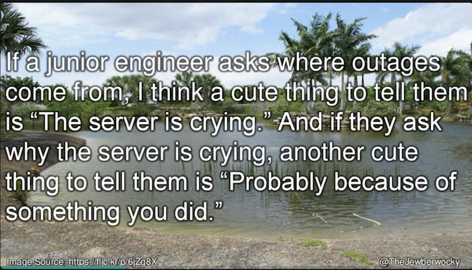 "Image of swampy area with overlaid quote reading ""If a junior engineer asks where outages come from, I think a cute thing to tell them is 'The server is crying.' And if they ask why the server is crying, another cute thing to tell them is 'probably becaus"