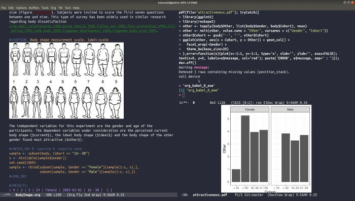 Literate programming in Org mode, the ESS buffer, and graphics output.