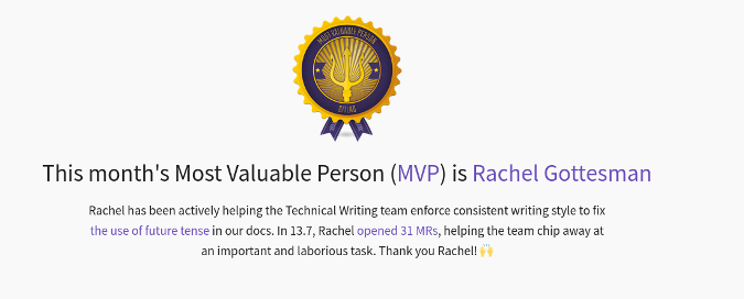 Rachel Gottesman's GitLab MVP award