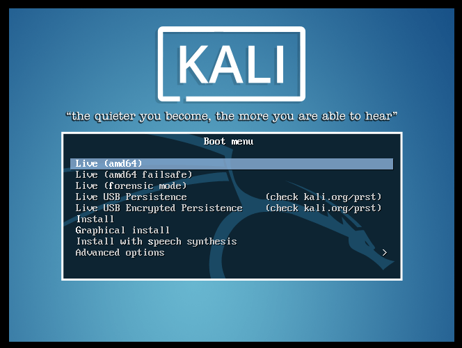 Kali Linux x86 boot screen