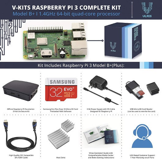 V-Kits Raspberry Pi 3 B+ Starter Kit