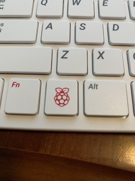 Raspberry Pi logo on the keyboard