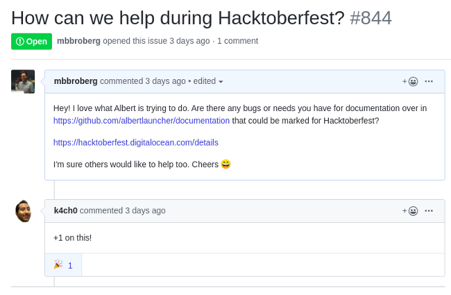Inviting project to participate in Hacktoberfest