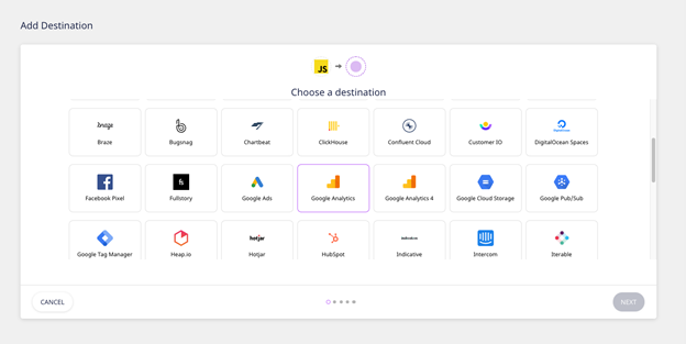 RudderStack selecting destination platform