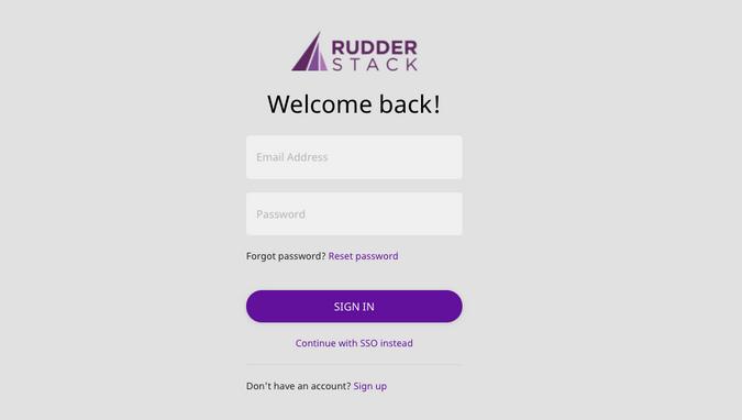 RudderStack login screen