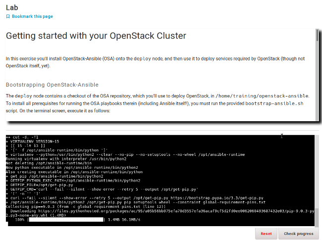 Example interactive lab bootstrapping an OpenStack cluster