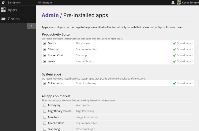Sandstorm App admin panel