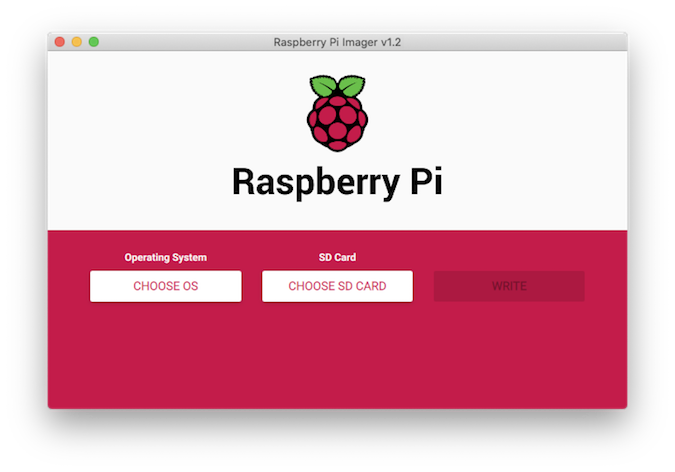 Raspberry Pi Imager home screen