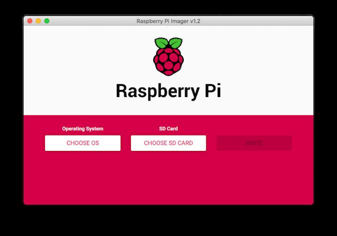 Raspberry Pi Imager home screen
