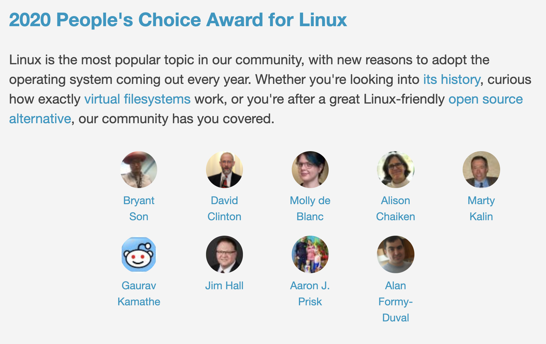 2020 People's Choice Award Winners in the Linux category