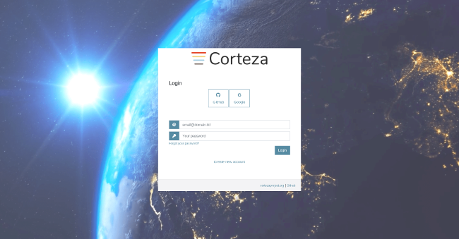 Corteza Login screenshot