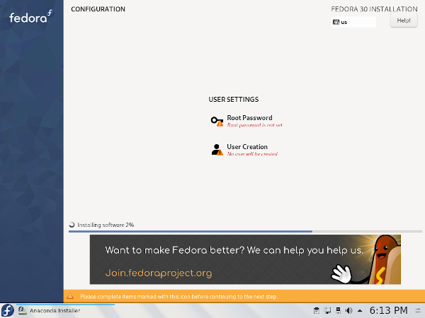 Fedora Anaconda Installer - Add a user