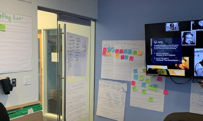 Scrum team room setup with sticky notes