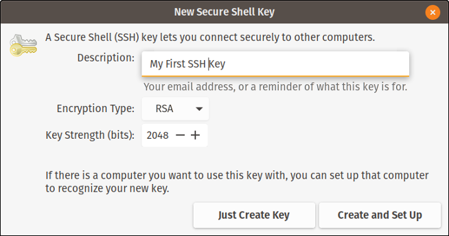 Creating a new SSH key