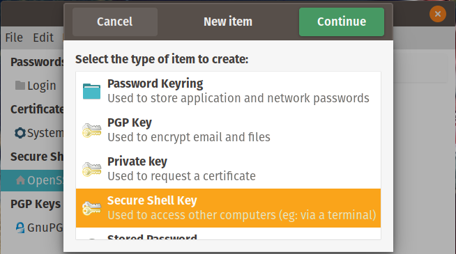 Select SSH Key
