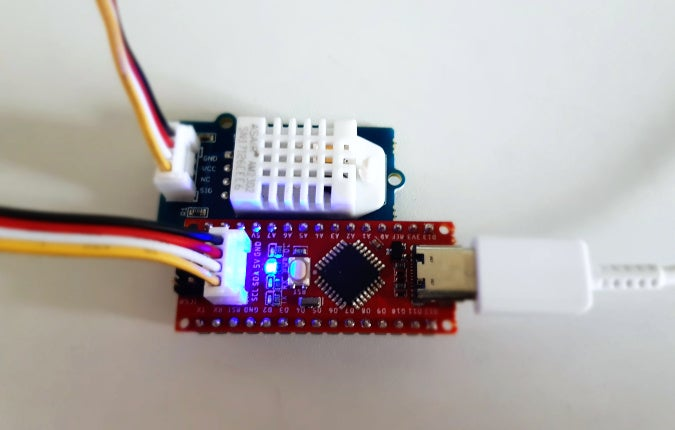 The Seeeduino Nano with a Grove module connected