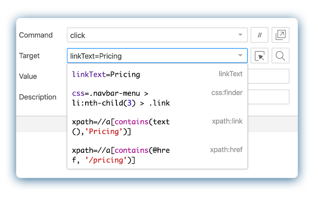 Selenium IDE captures linkText, an xPath expression, and CSS-based locators